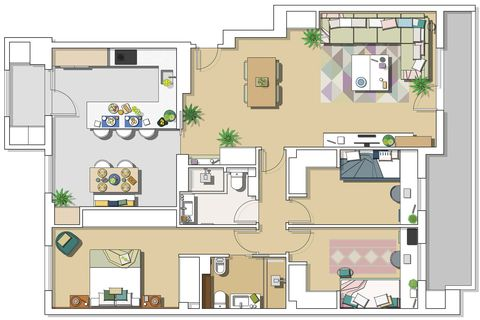 functional family flat house plan