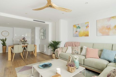 functional family flat living room in pastel colors