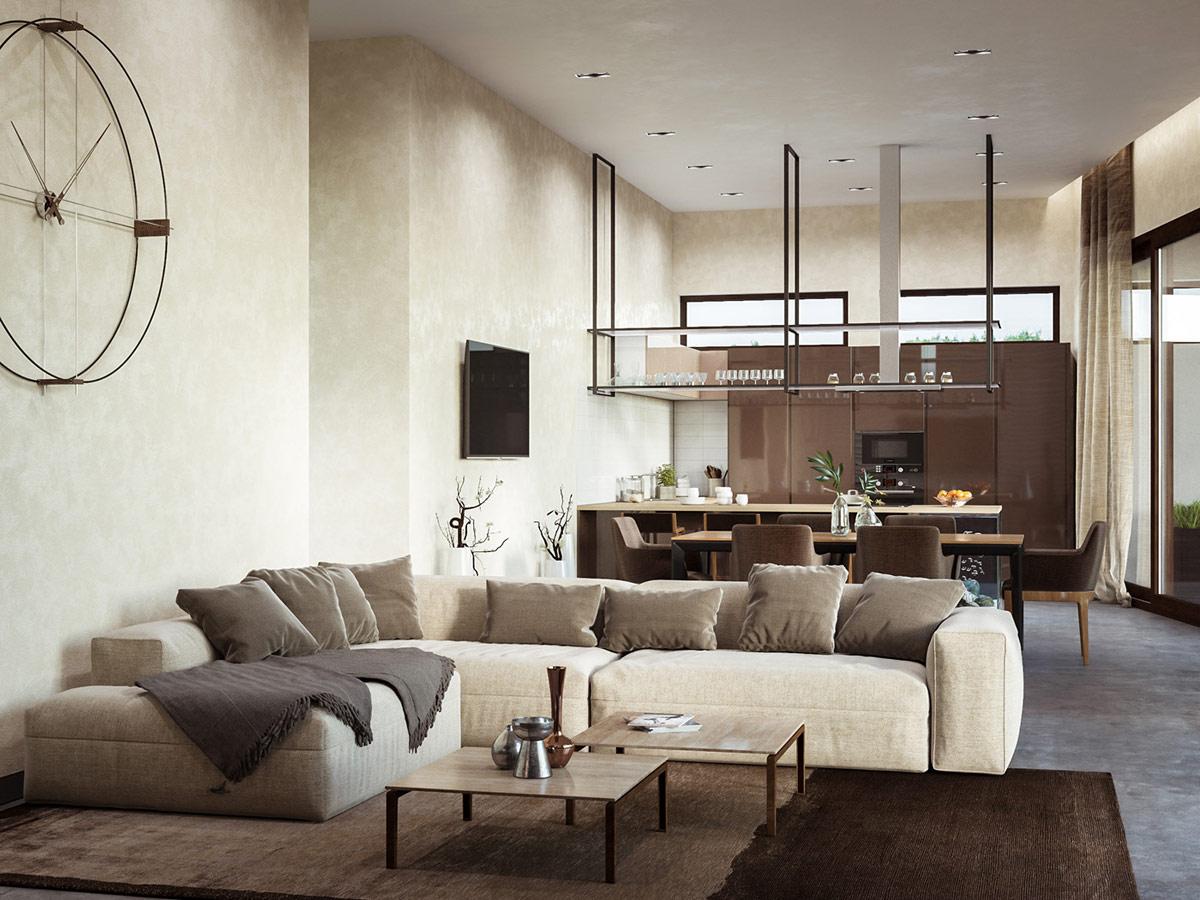 open-space-contemporary-cream-walls-living room