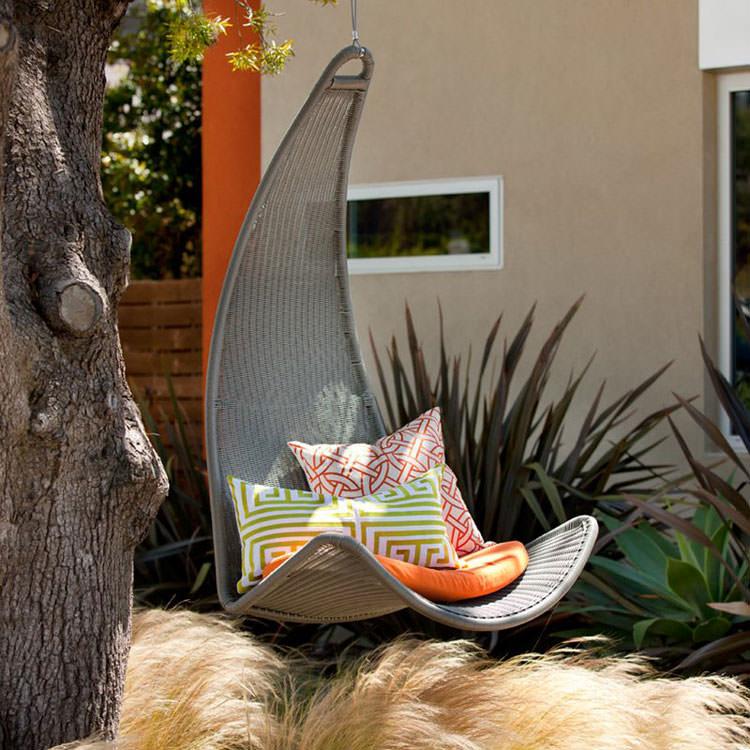 Hanging rattan garden chair