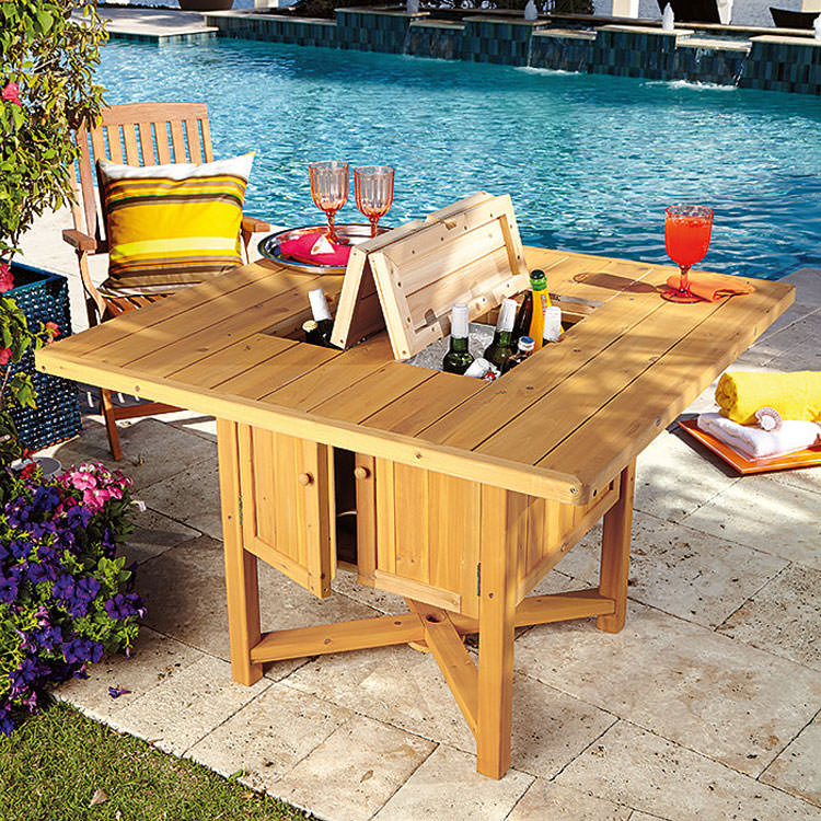 Garden table with multipurpose compartments