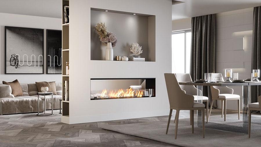 Design built-in bioethanol fireplace model n.07