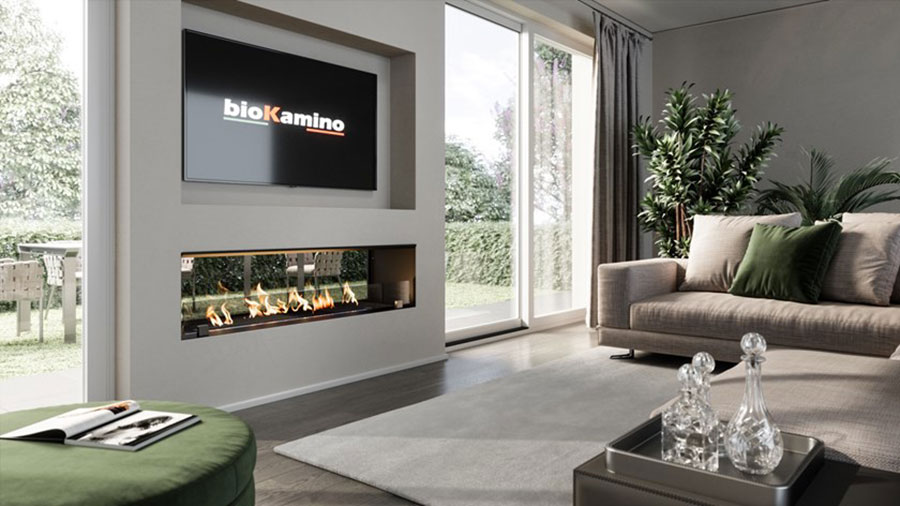 Design built-in bioethanol fireplace model n.03