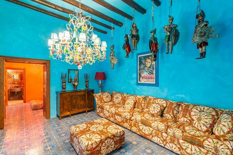 living room with walls decorated in blue