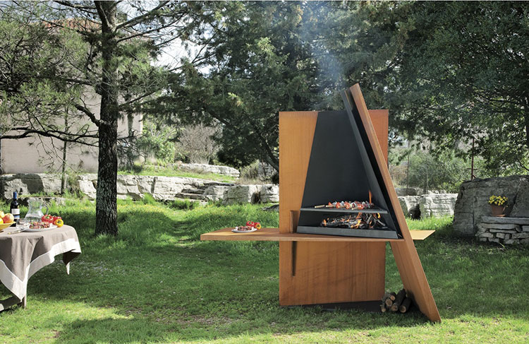 Barbecue model with a modern wood-burning design n.14