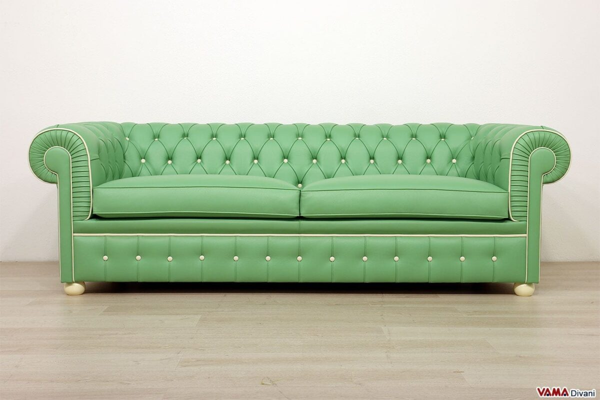 Green and white chesterfield sofa
