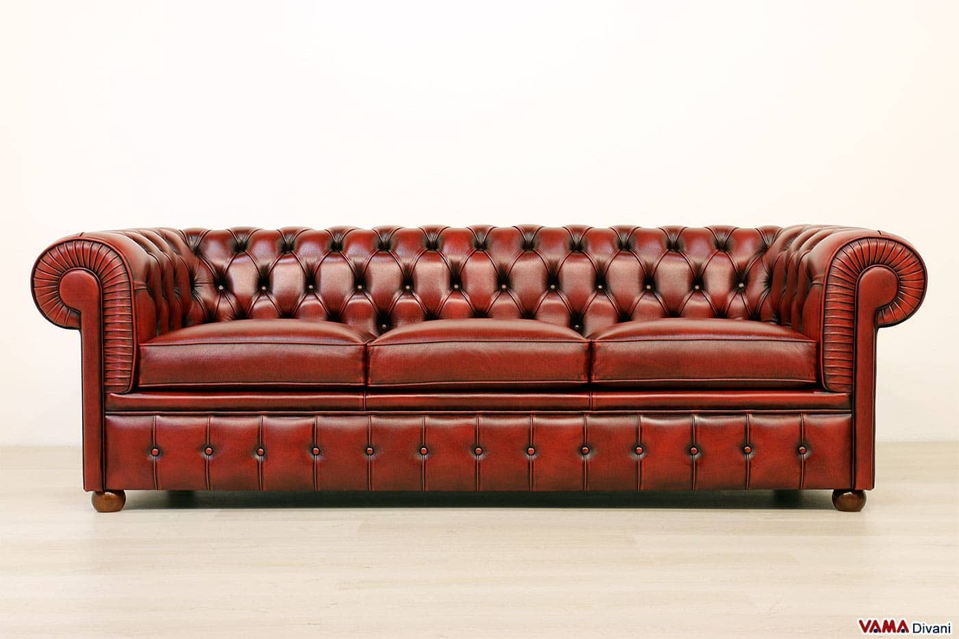 3 seater Chesterfield sofa in red vintage removed leather eff