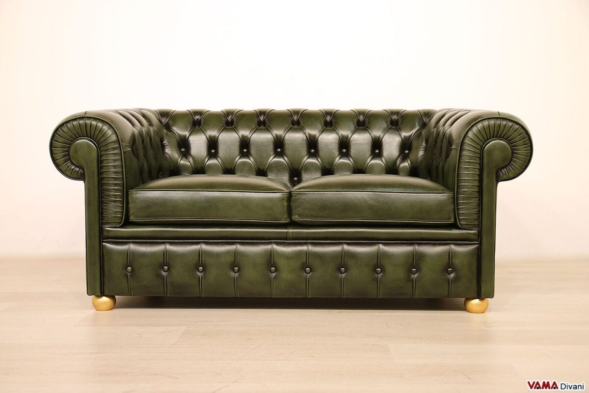 Chesterfield sofa with gold feet