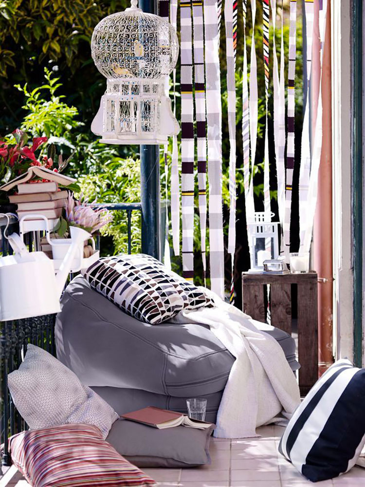 Ideas for embellishing a terrace with n.3 fabrics