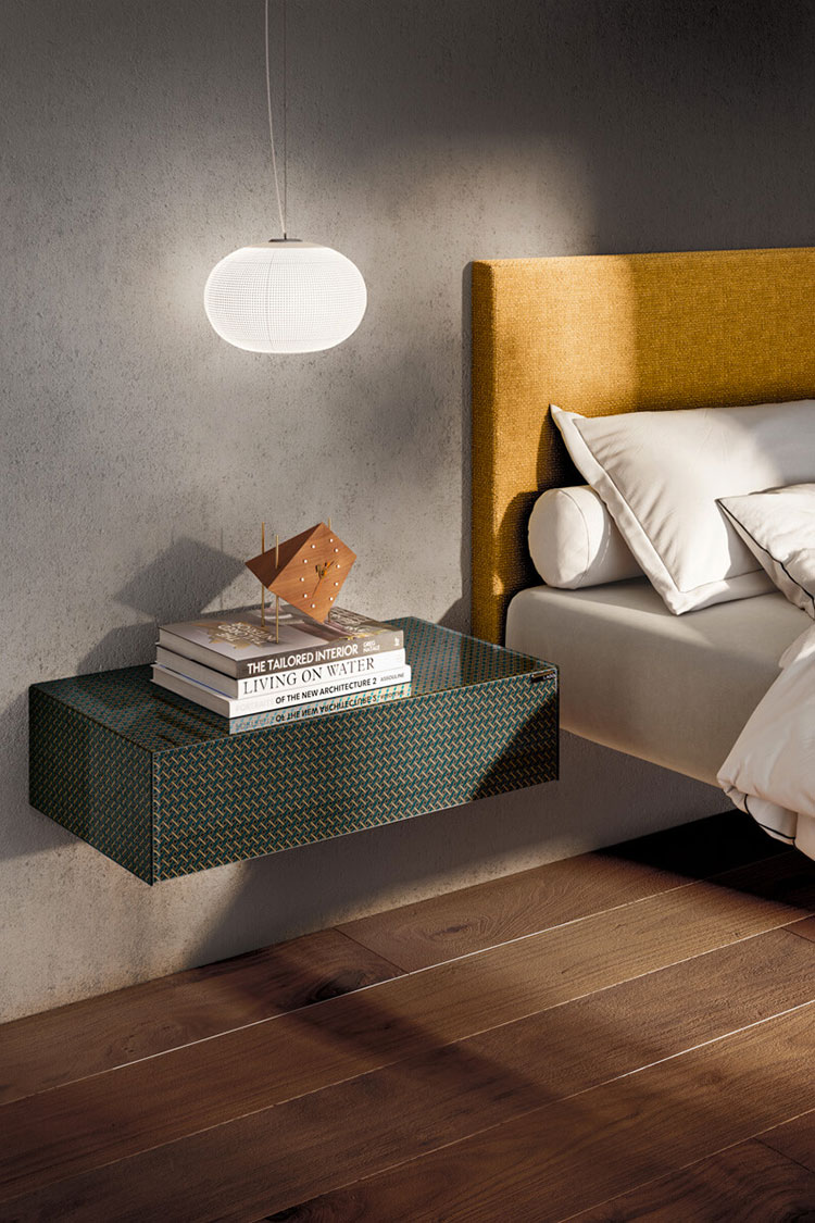 Suspended bedside table model by Lago n.06