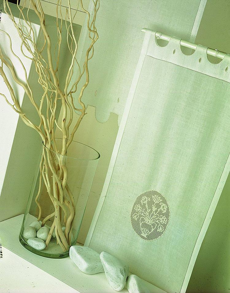 Shabby chic bathroom curtain model n.01