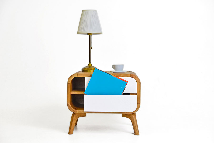 Vintage Bedside Table Model from Oak Design Studio # 05