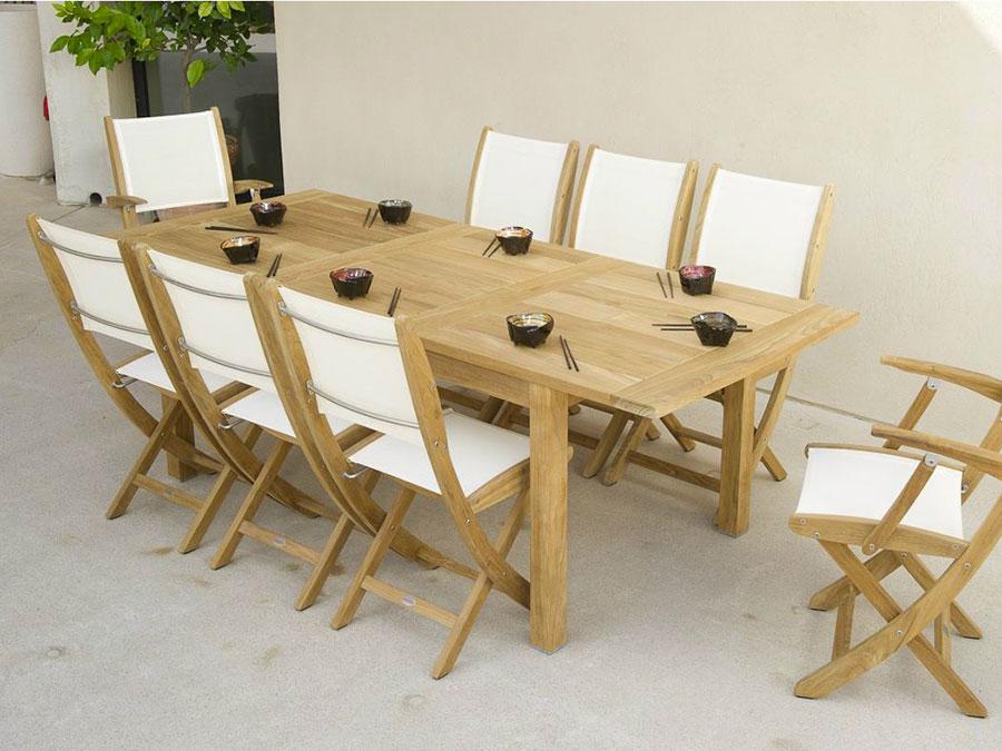 Extendable wooden garden table model n.02