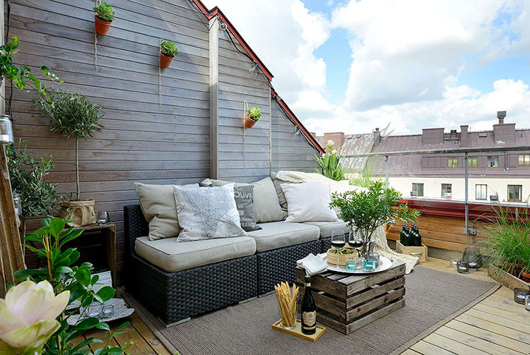 Ideas for decorating the terrace of an apartment n.11