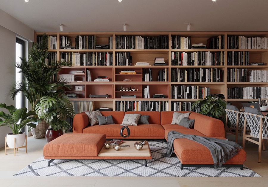 Ideas for decorating the living room with a wall bookcase n.02