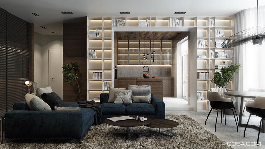Ideas for decorating the living room with a 22 wall bookcase