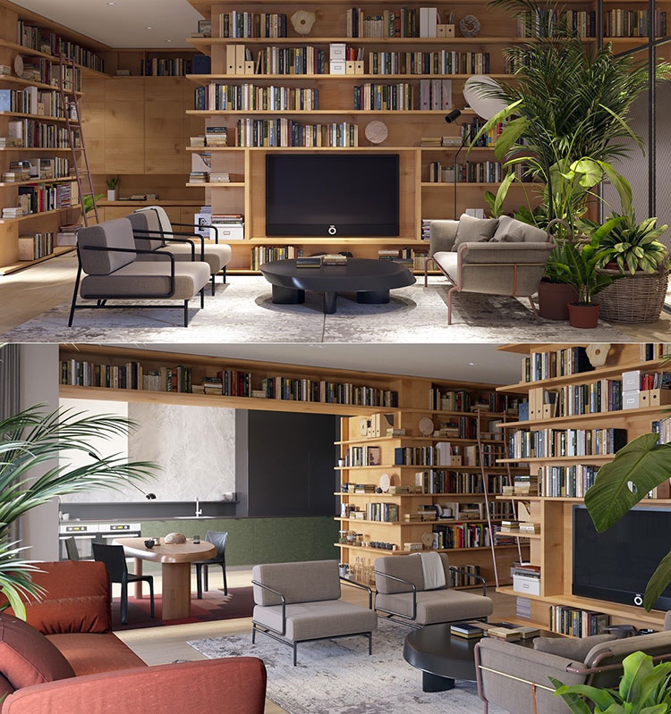 Ideas for decorating the living room with a wall bookcase n.03