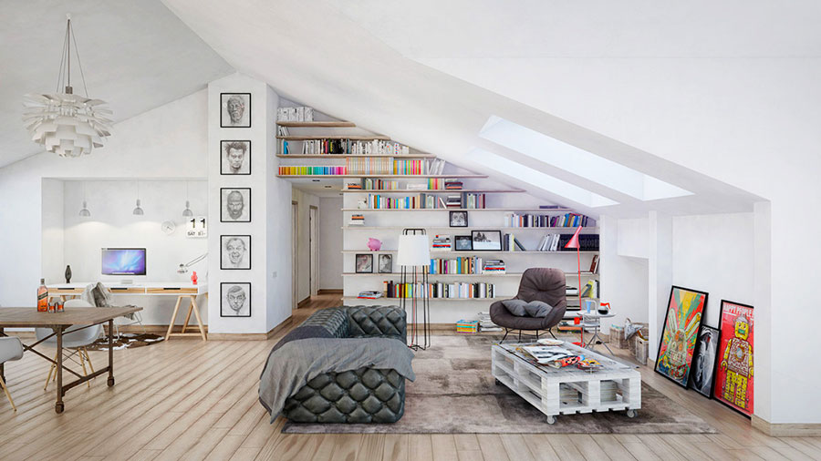 Ideas for decorating the living room with a wall bookcase n.08