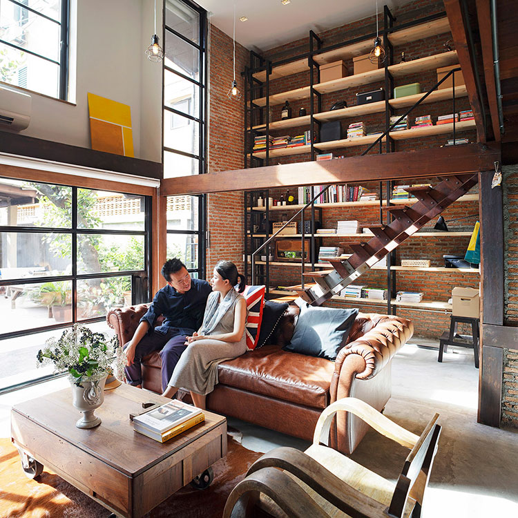 Ideas for decorating the living room with a wall bookcase n.21