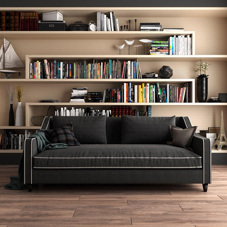 Ideas for decorating the living room with a wall bookcase n.18