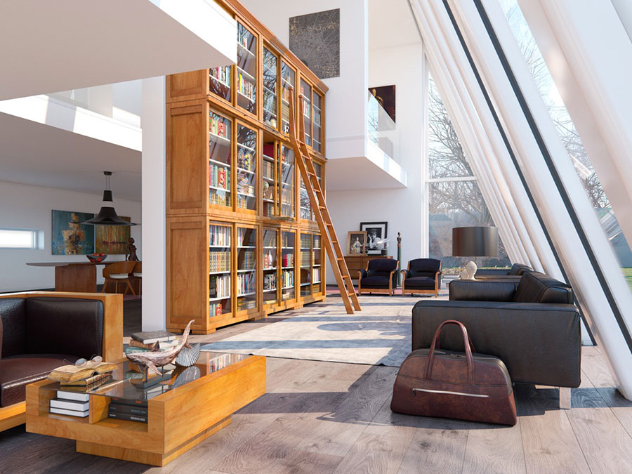 Ideas for decorating the living room with a wall bookcase n.25