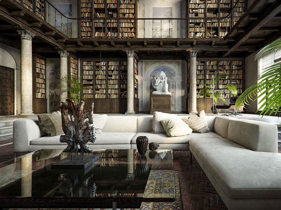 Ideas for decorating the living room with a wall bookcase n.19