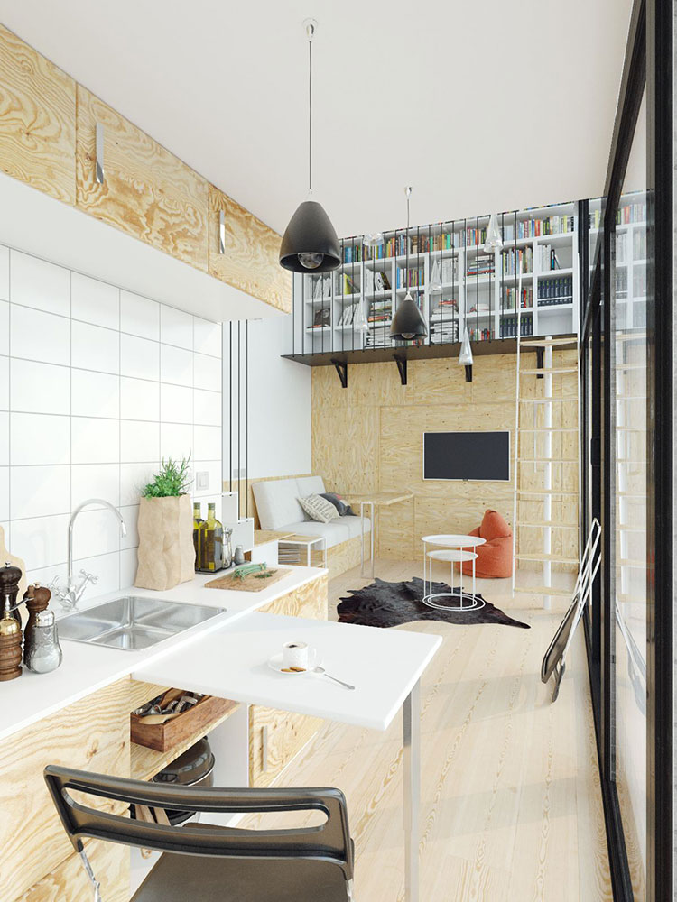 Ideas for decorating the living room with a wall bookcase n.16