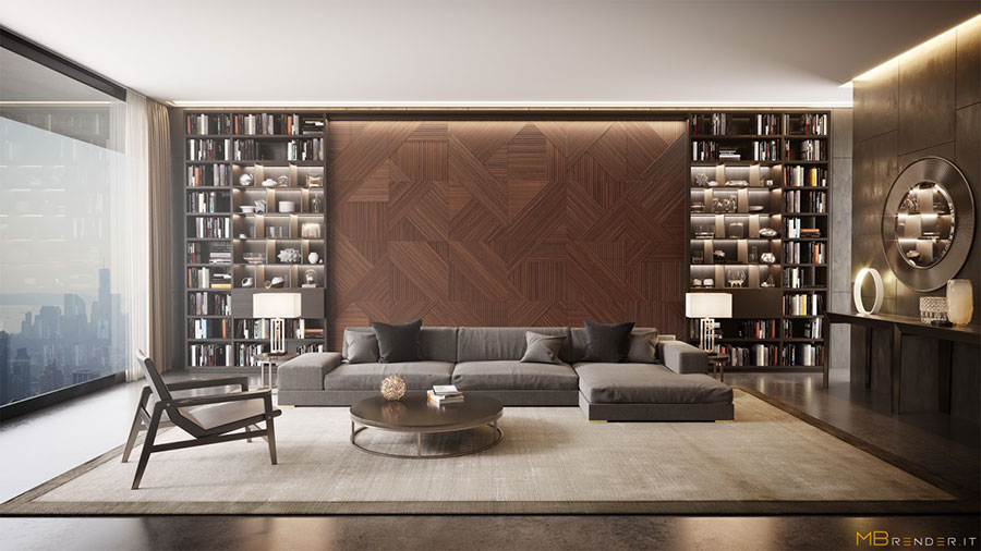 Ideas for decorating the living room with a wall bookcase n.13