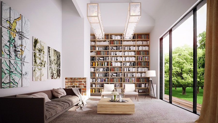 Ideas for decorating the living room with a wall bookcase n.09