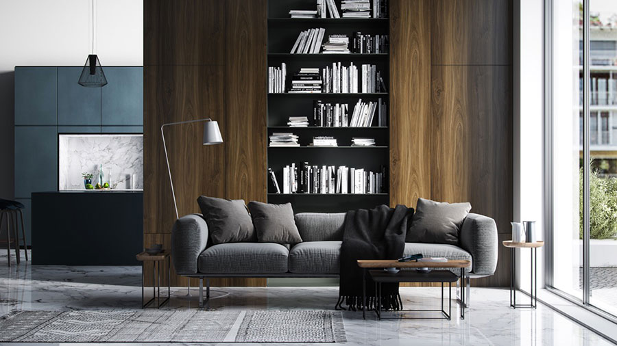 Ideas for decorating the living room with a wall bookcase n.14