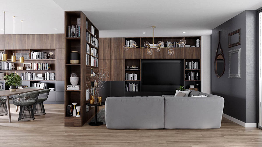 Ideas for decorating the living room with a wall bookcase n.10