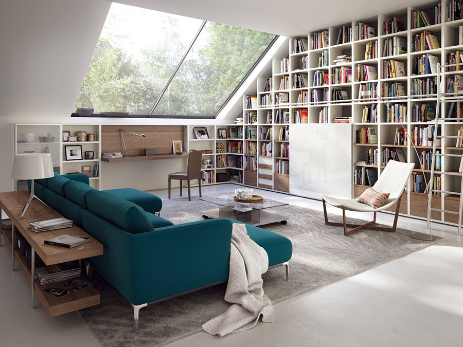 Ideas for decorating the living room with a wall bookcase n.06