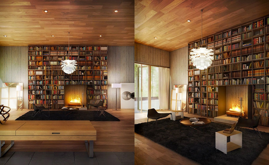 Ideas for decorating the living room with a wall bookcase n.20