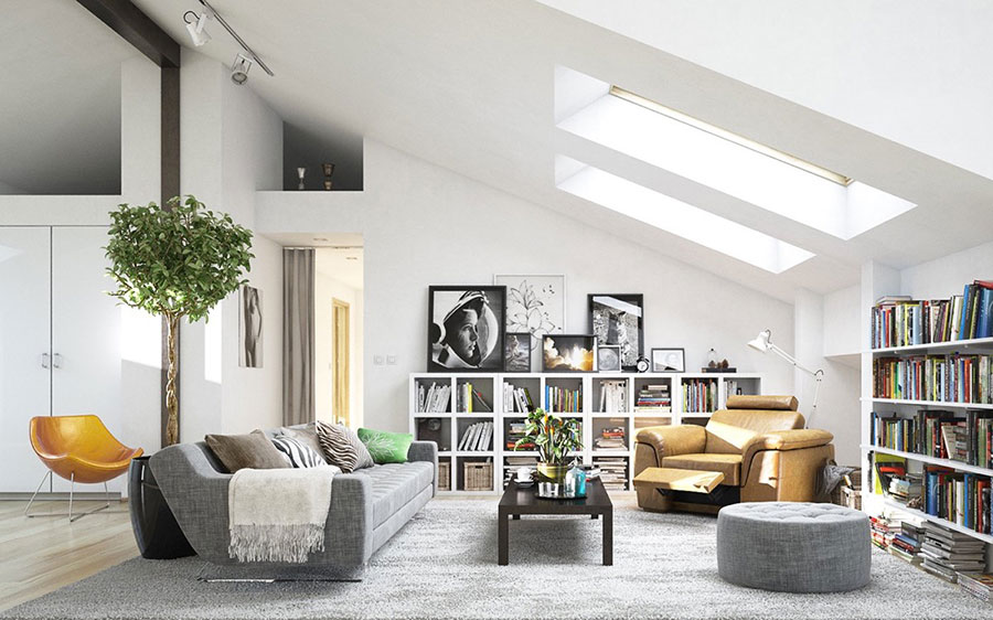 Ideas for decorating the living room with a wall bookcase n.07