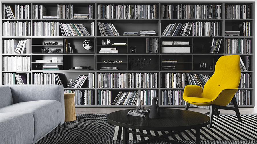 Ideas for decorating the living room with a wall bookcase n.12