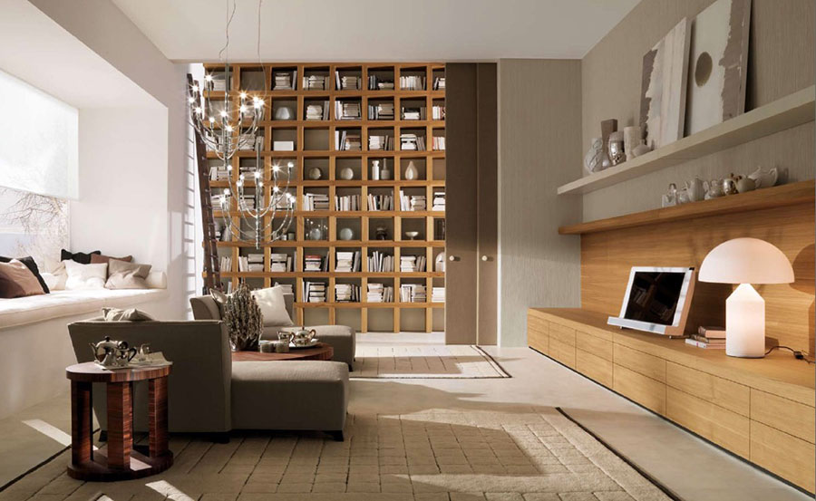 Ideas for decorating the living room with a wall bookcase n.15