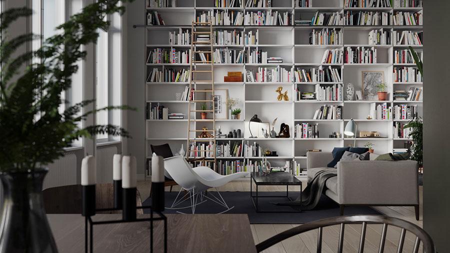Ideas for decorating the living room with a wall bookcase n.11