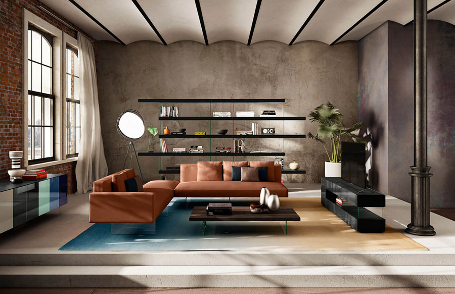 Wall bookcase for living room Lago 03