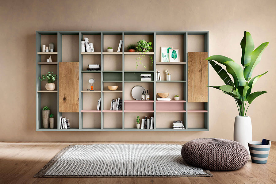 Lago 08 wall bookcase for living room