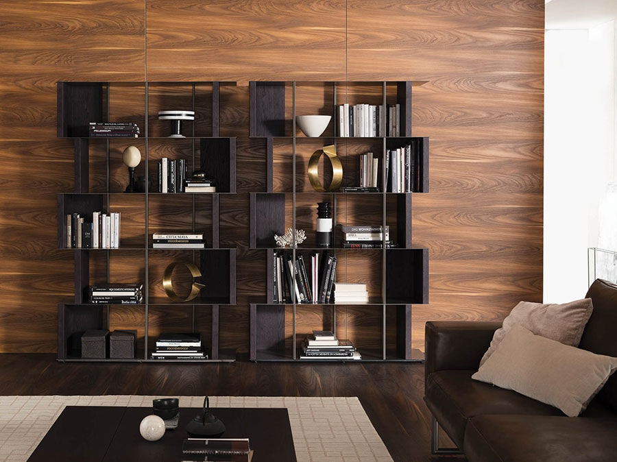 Wall bookcase for living room Ozzio 02