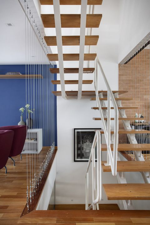 open staircase integrated into the living room
