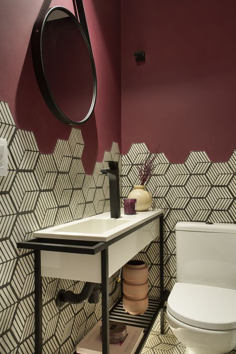 toilet decorated with geometric tiles