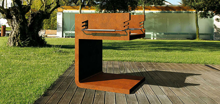 Barbecue model with a modern wood-burning design n.01