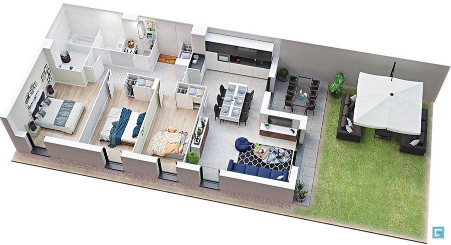 House plan 100 sqm with rectangular plan n.01