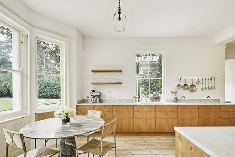 rustic kitchen with office