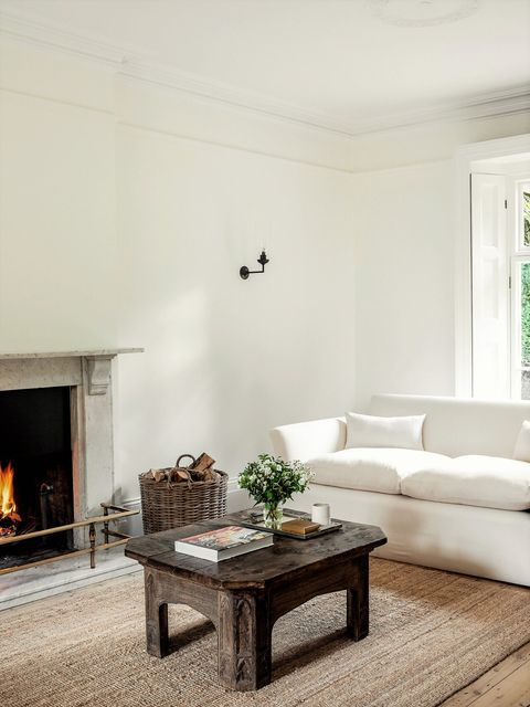 country-style living room with fireplace