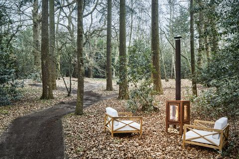 seating area in the woods