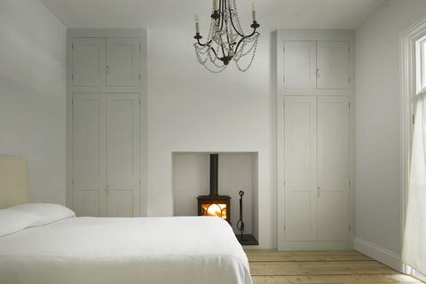 classic style bedroom decorated in neutral tones