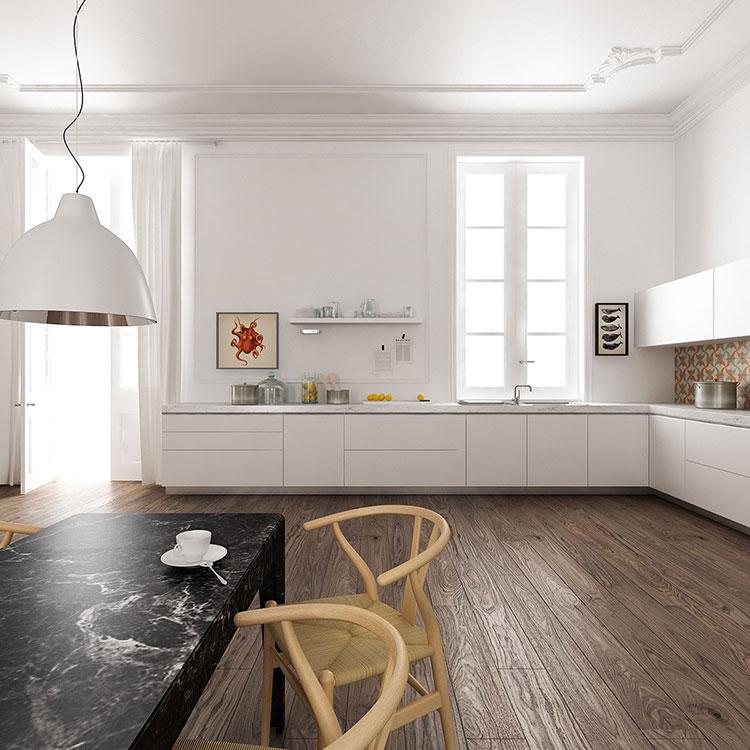 Linear Modern White Kitchen Template # 01