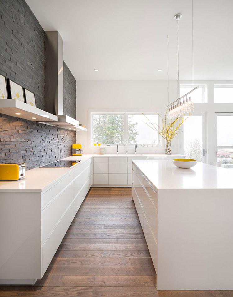 Modern white kitchen model with island # 02
